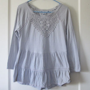 Anthro boho peasant top gray lace meadow rue